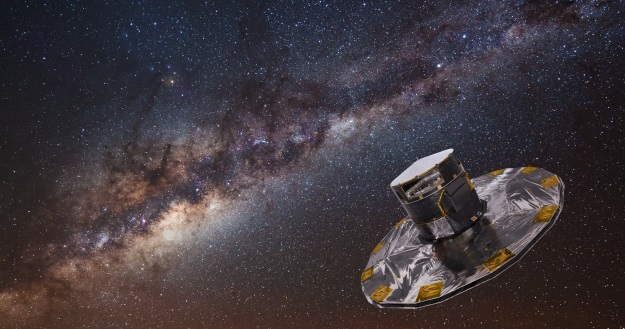 Artist's impression of the Gaia spacecraft, with the Milky Way in the background. Credit: ESA/ATG medialab; background image: ESO/S. Brunier