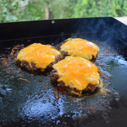 Chorizo Beef Cheeseburgers on a Blackstone Griddle