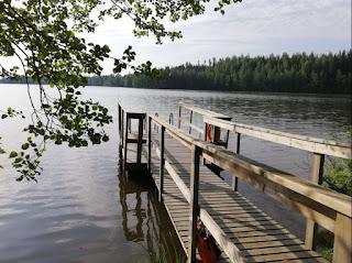 Pitkä puinen laituri pienen järven rannalla.