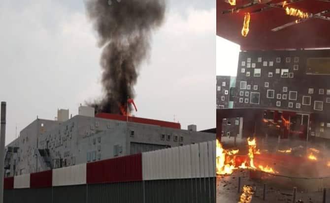 Fuego, humo, bomberos