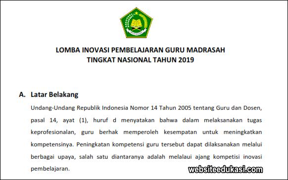 Juknis Lomba Inovasi Pembelajaran Guru Madrasah 2019