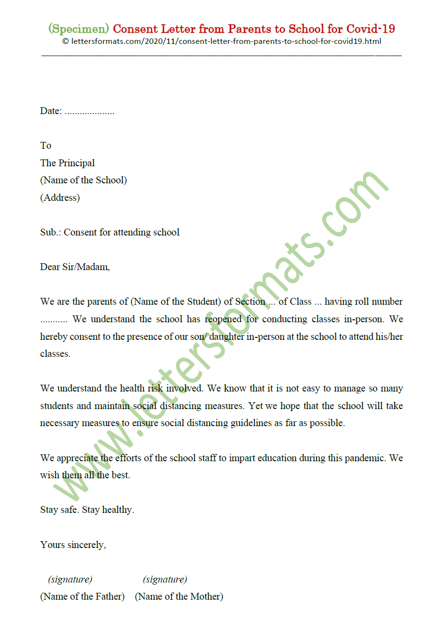 Consent Letter from Parents to School for Covid-22 Sample