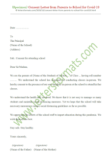 consent letter from parents to school for covid-19 in english