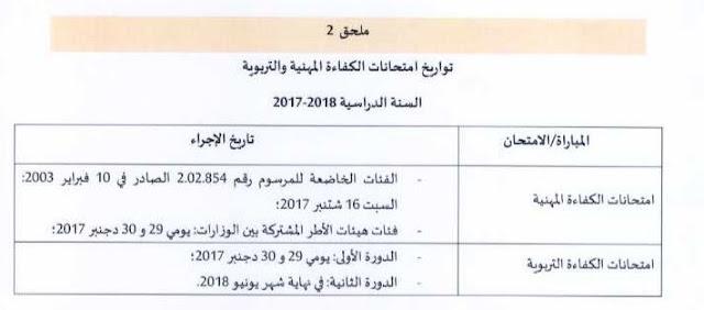 تعرف على تواريخ الكفاءة التربوية لموسم 2017-2018