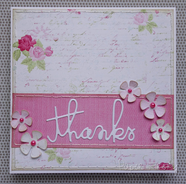 Pretty floral CAS thank you card