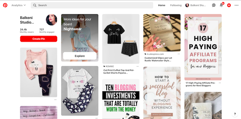 log in to your pinterest account