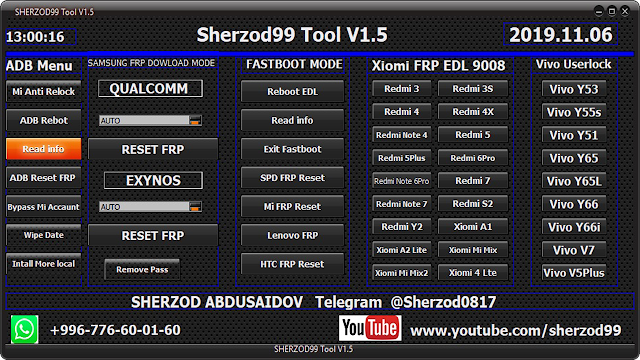 Sherzod99 Tool v1.5 Multi Frp Tool 2019 Free Download