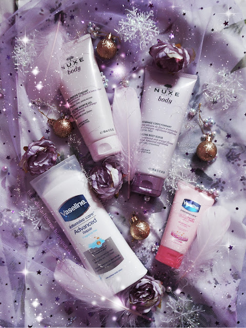 Angelic Body Care Routine Nuxe Melting Shower Gel Nuxe Melting Body Scrub Vaseline Intensive Care krém na ruky a nechty s keratínom Vaseline Intensive Care Advanced Repair telové mlieko