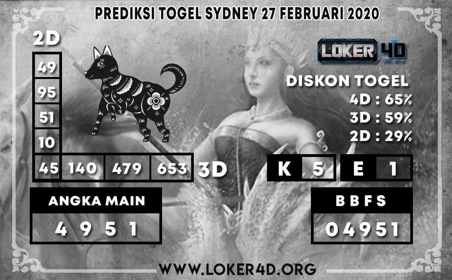 PREDIKSI TOGEL SYDNEY LOKER4D 27 FEBRUARI 2020