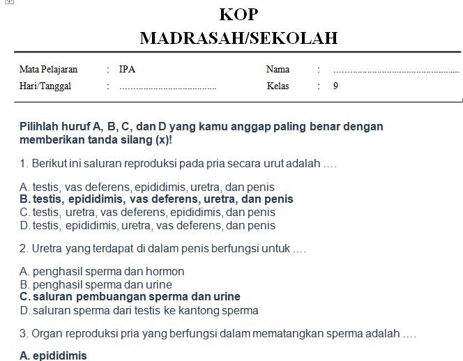 Soal Ipa Kelas 9 Semester 1 Kurikulum 2013 Beserta Jawabannya