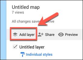 اضغط على إضافة طبقة لإضافة طبقة مخصصة إلى خريطة خرائط Google المخصصة