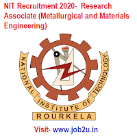 NIT Recruitment 2020,  Research Associate (Metallurgical and Materials Engineering)