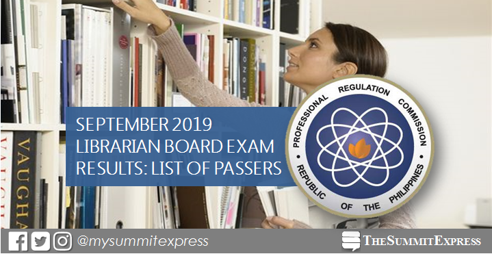 FULL RESULTS: September 2019 Librarian board exam list of passers, top 10