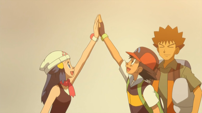 Dawn se despedindo de Ash e Brock