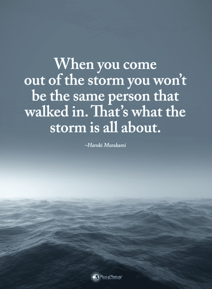When you come out of the storm you won\'t be the same person ...