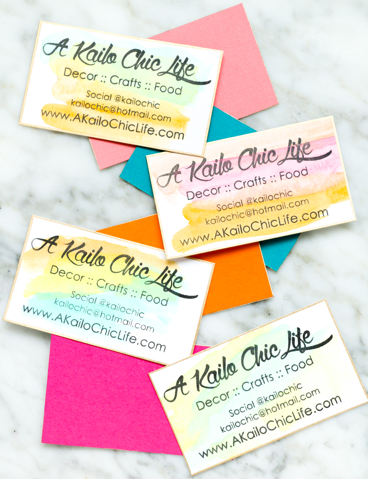 Diy it watercolor business cards a kailo chic life make your own custom business card stamp using the silhouette mint and use it to make reheart Image collections