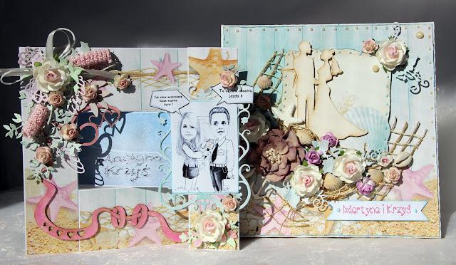 kartka składak, kartka ślubna, komplet ślubny, zaproszenia na ślub, morski ślub, handmade, rękodzieło, na zamówienie, kartka ze zdjęciem, Rafa Koralowa inspiracje, Magiczna Kartka inspiracje, pudełko na kartki, kartka warstwowa, i-kropka tekturki,kartka z karykaturą