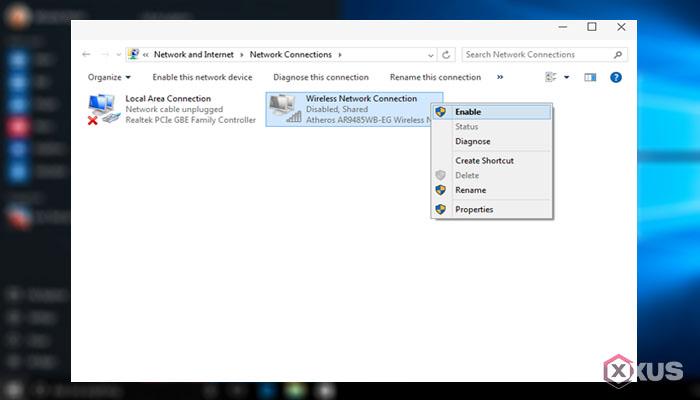 Cara mengaktifkan WiFi di laptop dengan mengaktifkan Adapter WiFi