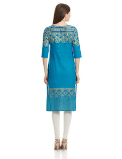 Rs. 899 Aurelia Three Qarter Sleeve Round Neck Cotton Blue Kurta from fashiondiya