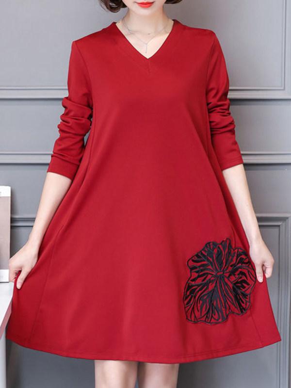Vestido Trapézio Vermelho Manga Longa