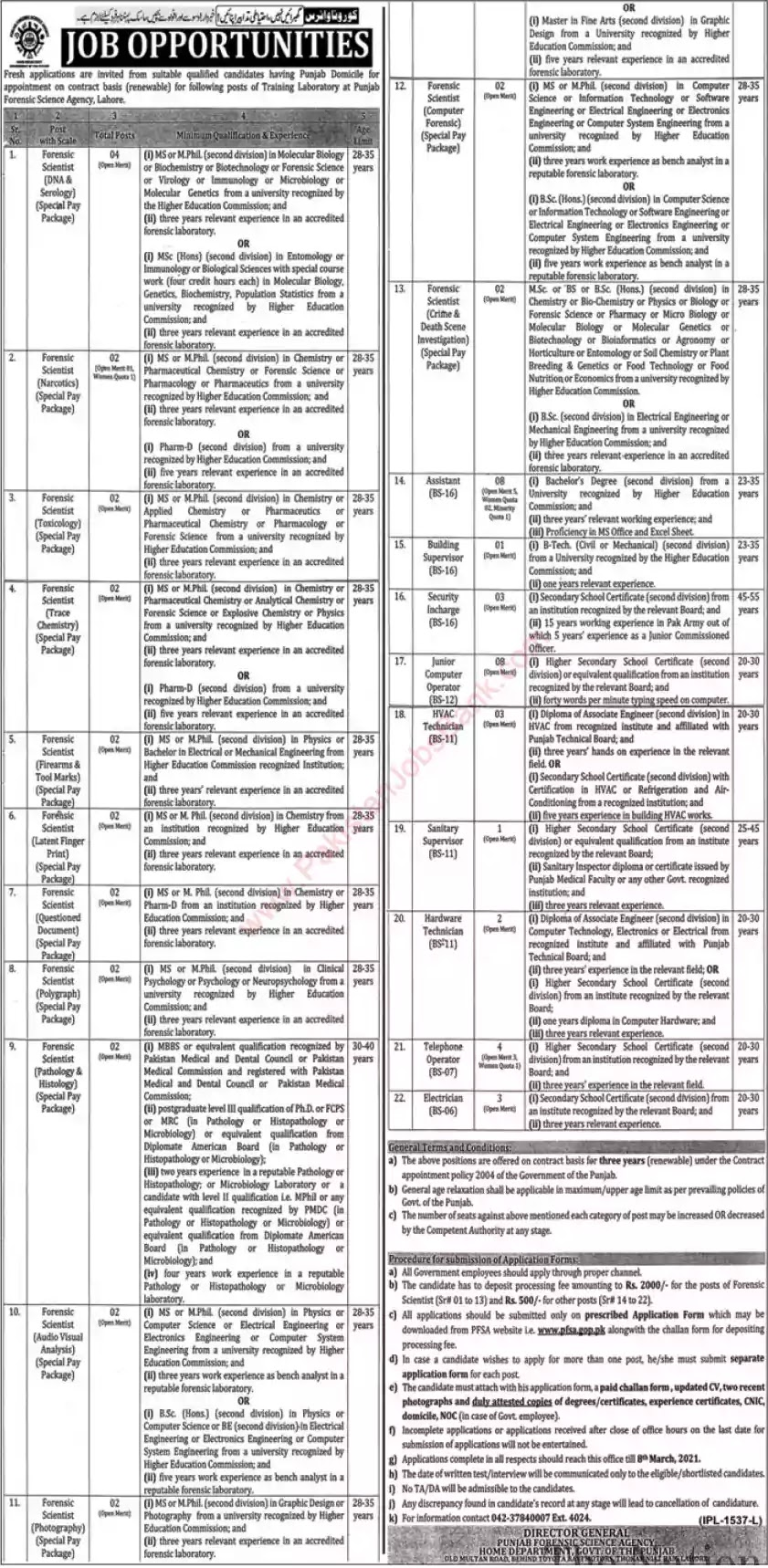 Latest Jobs in Pakistan in Punjab Forensic Science Agency Jobs 2021