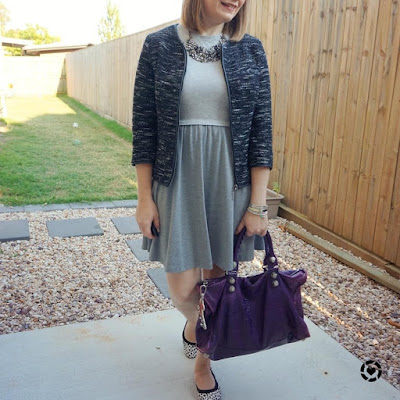 awayfromblue Instagram | grey skater dress in office boucle jacket monochrome outfit with purple balenciaga work bag