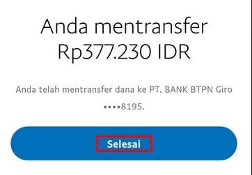 Transfer Dana Diproses