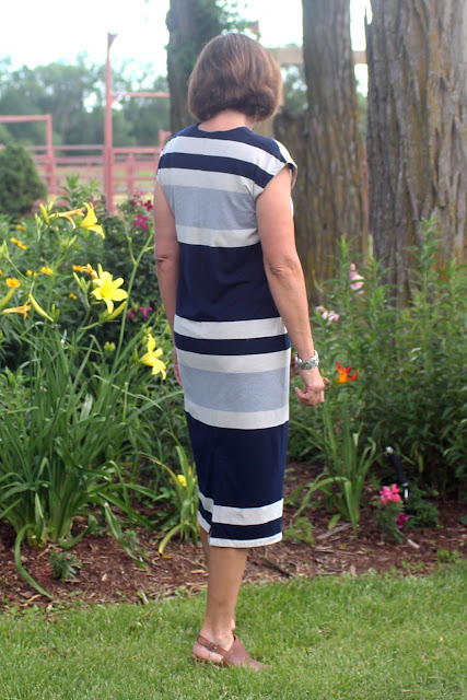 Lodo Dress from IndieSew made from Mood Fabrics' Stripe Jersey Knit- back view