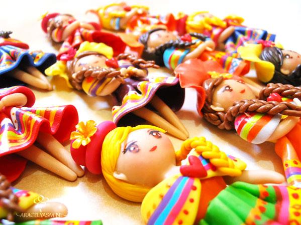 muñecas peruanas imanes hechas de porcelana fria