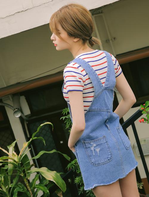 Short Denim Overall Dress