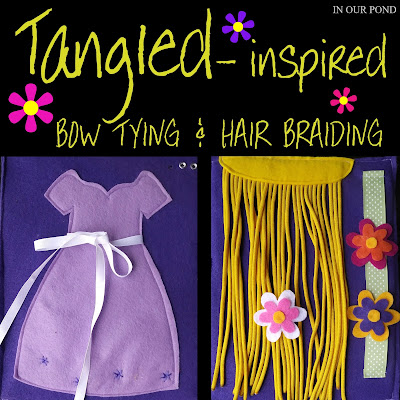 Tangled-Inspired Bow Tying and Hair Braiding Activities for Kids from In Our Pond