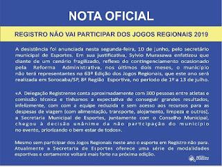 REGISTRO-SP NÃO VAI PARTICIPAR DOS JOGOS REGIONAIS 2019