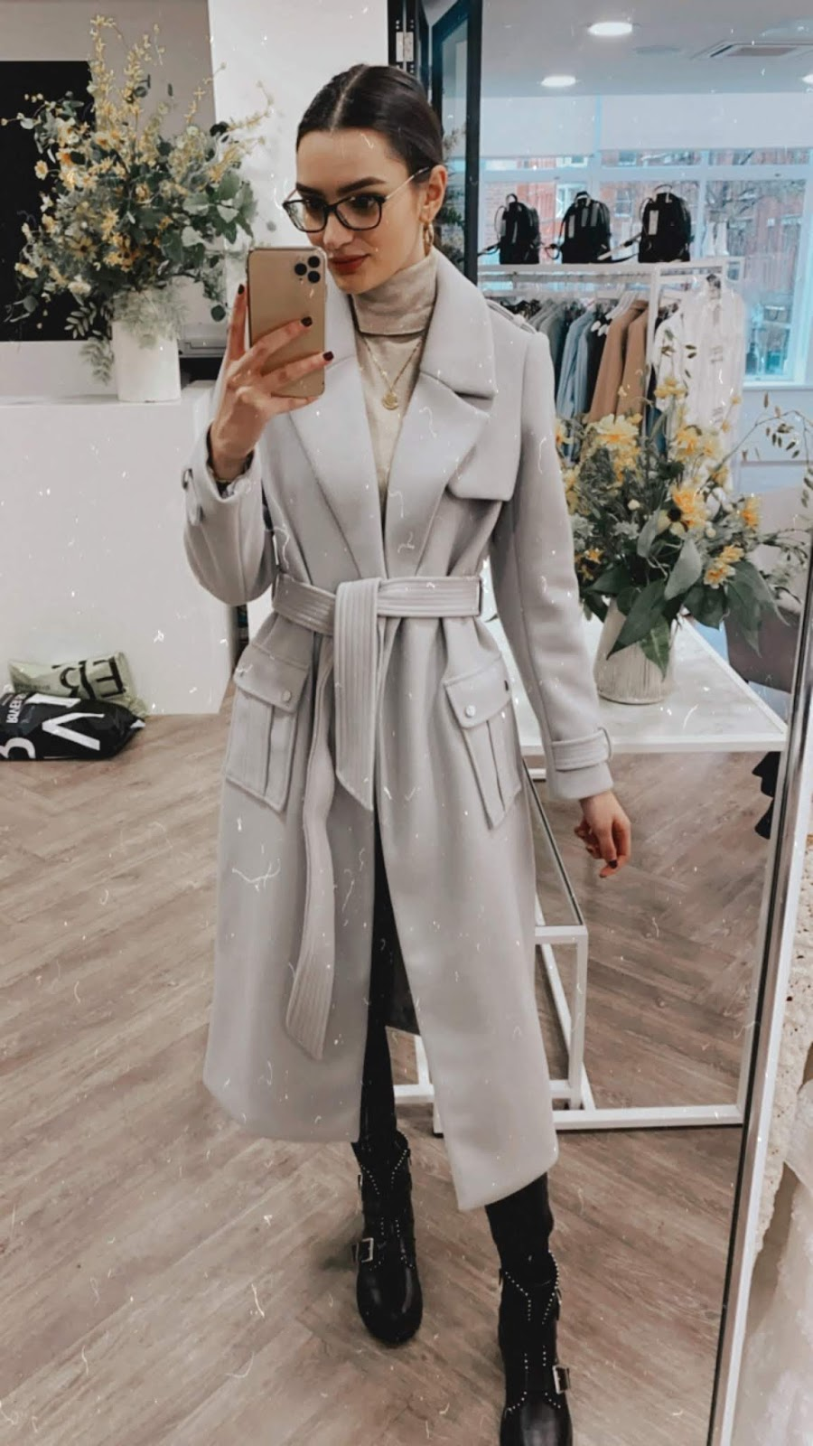 river island belted grey coat