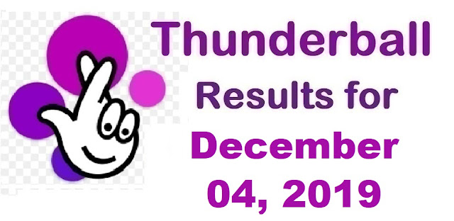 Thunderball Results for Wednesday, December 04, 2019