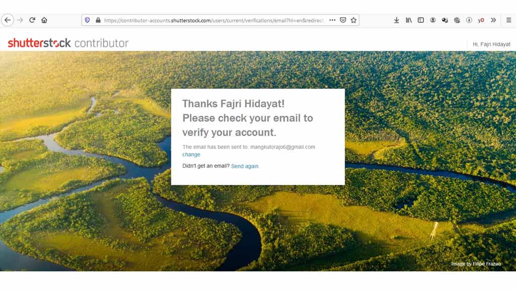 fajriology.com - Pemberitahuan untuk memverifikasi akun kontributor shutterstock