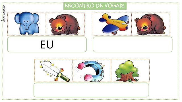 Atividades para trabalhar encontro de vogais