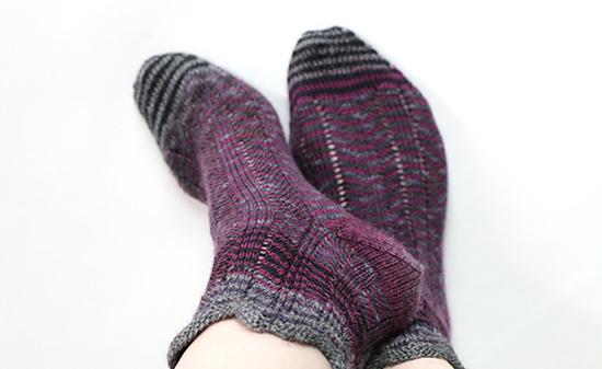 Wearing Socks Knit with Purple Chevron Stripes