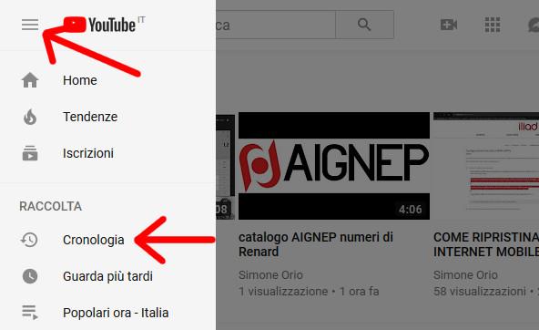 cronologia ricerche Youtube nella barra laterale sinistra