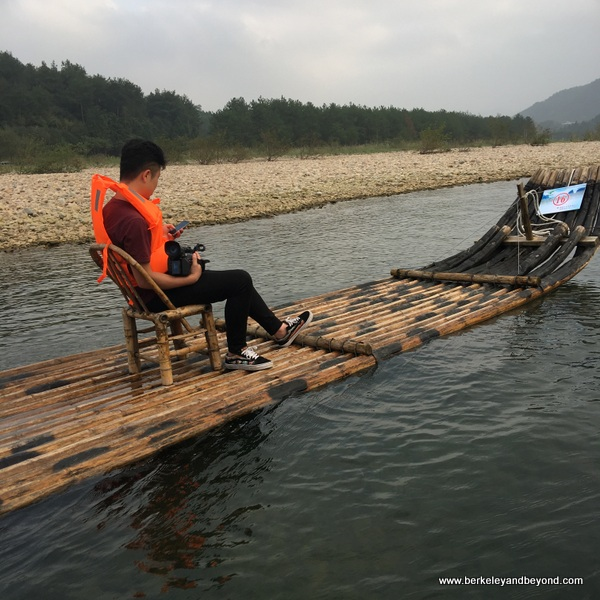 bamboo rafting on the Nanxi River in Yongjia Townt in Zhejiang Province, Wenzhou, China