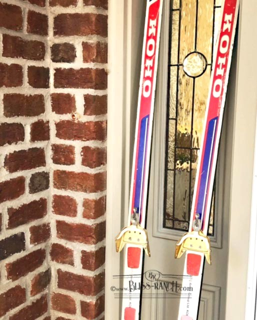 Painted Stenciled Ski Winter Decoration