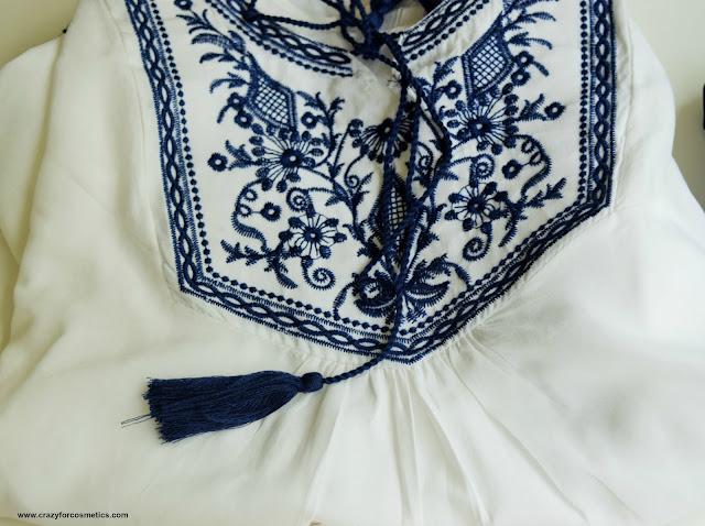 White & Blue Over- Sized  Boho Tunic