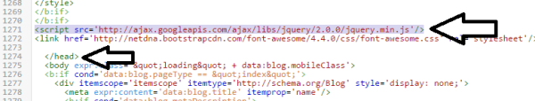 Checking blogger template for jquary code 4