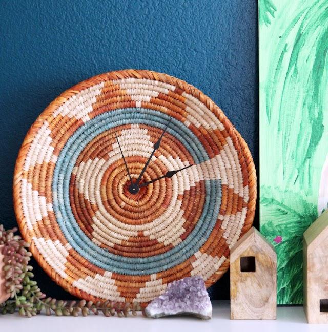 DIY Ρολόγια Τοίχου από Ψάθινα Καλάθια