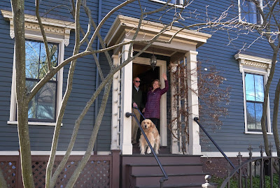 Elizabeth Warren with her husband Bruce inside their house