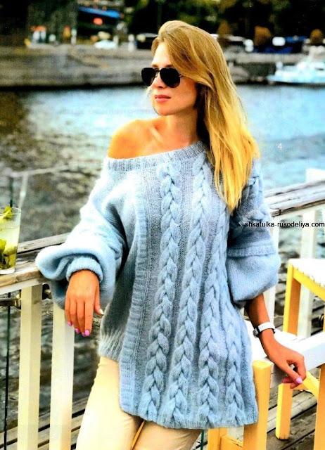 wzór swetra na drutach