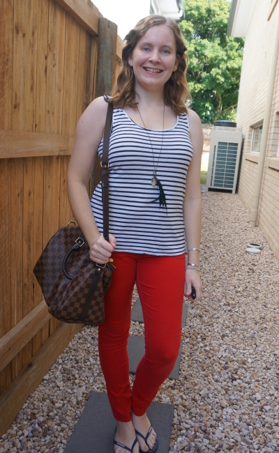white striped tank with red skinny jeans, louis vuitton speedy bandouliere | away from the blue