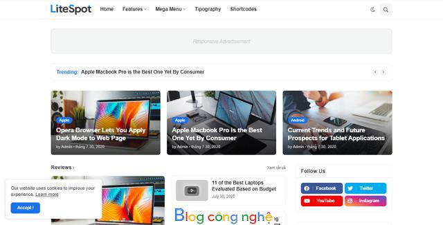 LiteSpot - Premium Blogger Template download Free
