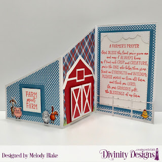 Farmer's Prayer, Stamp/Die Duos: Farm Friends, Custom Dies: Barn, Farm Fence. Z Fold with Layers, Cloud Borders, Double Stitched Rectangles, Double Stitched Squares, Grass Lawn, Rectangles, Paper Collections: Old Glory, Weathered Wood