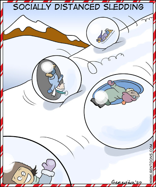 A snowy mountain slope.  several people are out in their winter clothes having  a great time sledding - one on a sled, one on a saucer, one on an inflated tube.  Each person and their sled is inside a giant plastic ball that rolls downhill like a hamster ball.