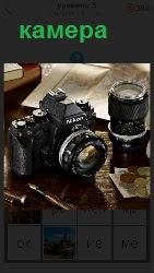обьектив с камерой на столе